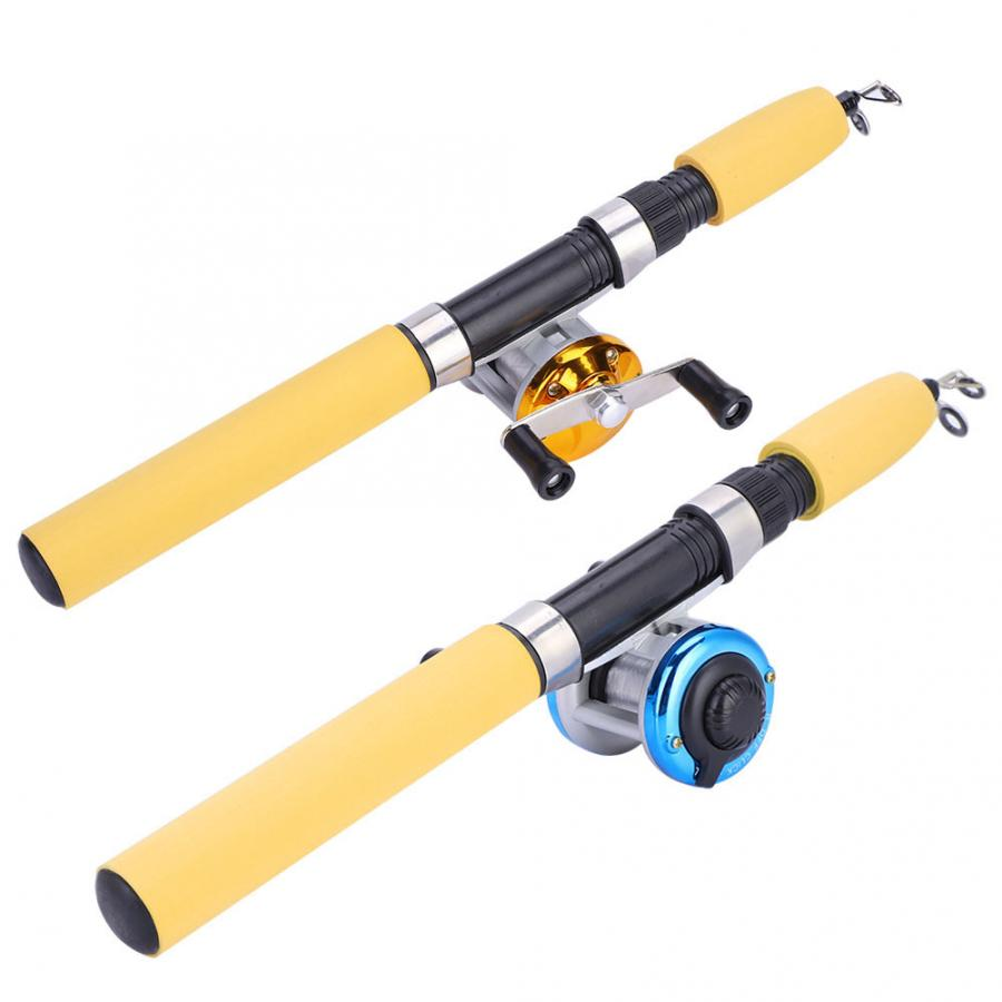Fishing-Set Telescopic Outdoor-Tackle-Accessory Luminous Portable Gold/blue 65/75cm