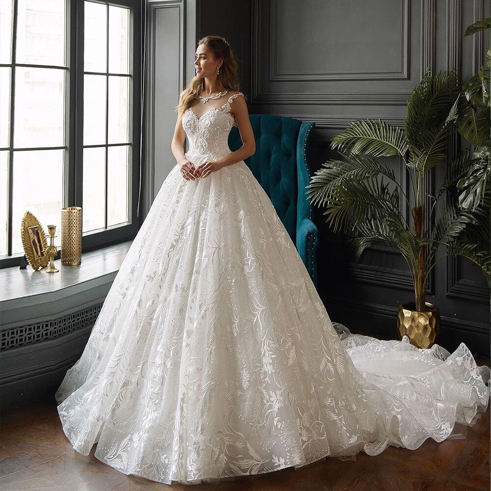 2020 New Arrivals Full Pearls Body Lace A-line Wedding Dresses Vestidos De Noiva Princess Wedding Gowns China Shop Online
