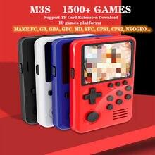 M3S Mini Handheld-Spielespieler Integrierte 1500+ Spiele 16-Bit-Retro-Spielekonsole USB-Lade-TV-Ausgang Intelligente Handheld-Retro-Spielekonsole mit 4G TF-Karte für Kinder Kindergeschenk