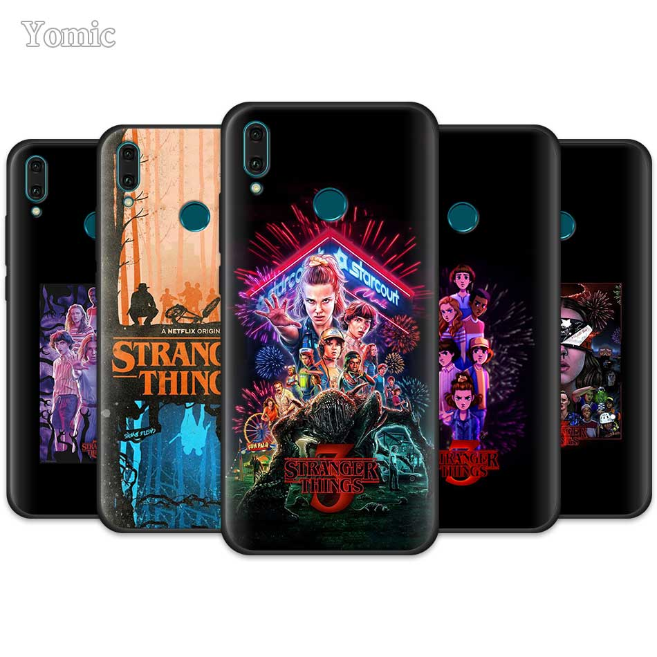 <font><b>Stranger</b></font> <font><b>Things</b></font> <font><b>Case</b></font> for <font><b>Huawei</b></font> Y9 Prime Y7 Y6 Y5 2019 Nova 5 5T 5i Pro Black Cover <font><b>P20</b></font> P30 <font><b>Lite</b></font> Silicone <font><b>Phone</b></font> CoqueCase for Hu image