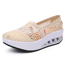 Casual Shoes Platform Breathable Hollow Woman Ladies Size-35-40 Mesh Thick Lace Heel