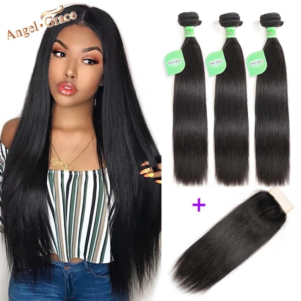 Anjo graça novo 2020 pacotes de cabelo reto com fechamento do cabelo humano 3 pacotes com fechamento hd tecer cabelo brasileiro pacotes remy