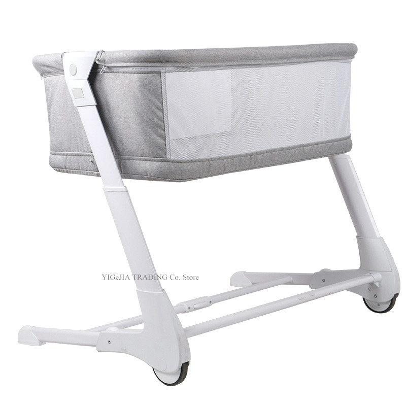 Portable Baby Bed With 4 Grade Height Adjust, Grey Color Baby Crib Can Combine With Adult Bed, Foldable Infant Bassinet