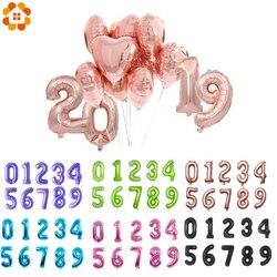 1 PC 3 Größen 16 /32/40 Rose Gold Anzahl Ballon Figuren Folie Float Air aufblasbare Bälle Für Geburtstag Party Hochzeit Dekoration