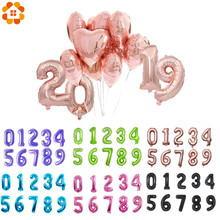 "1PC 3 Sizes 16""/32""/40"" Rose Gold Number Balloon Figures Foil Float Air Inflatable Balls For Birthday Party Wedding Decoration(China)"