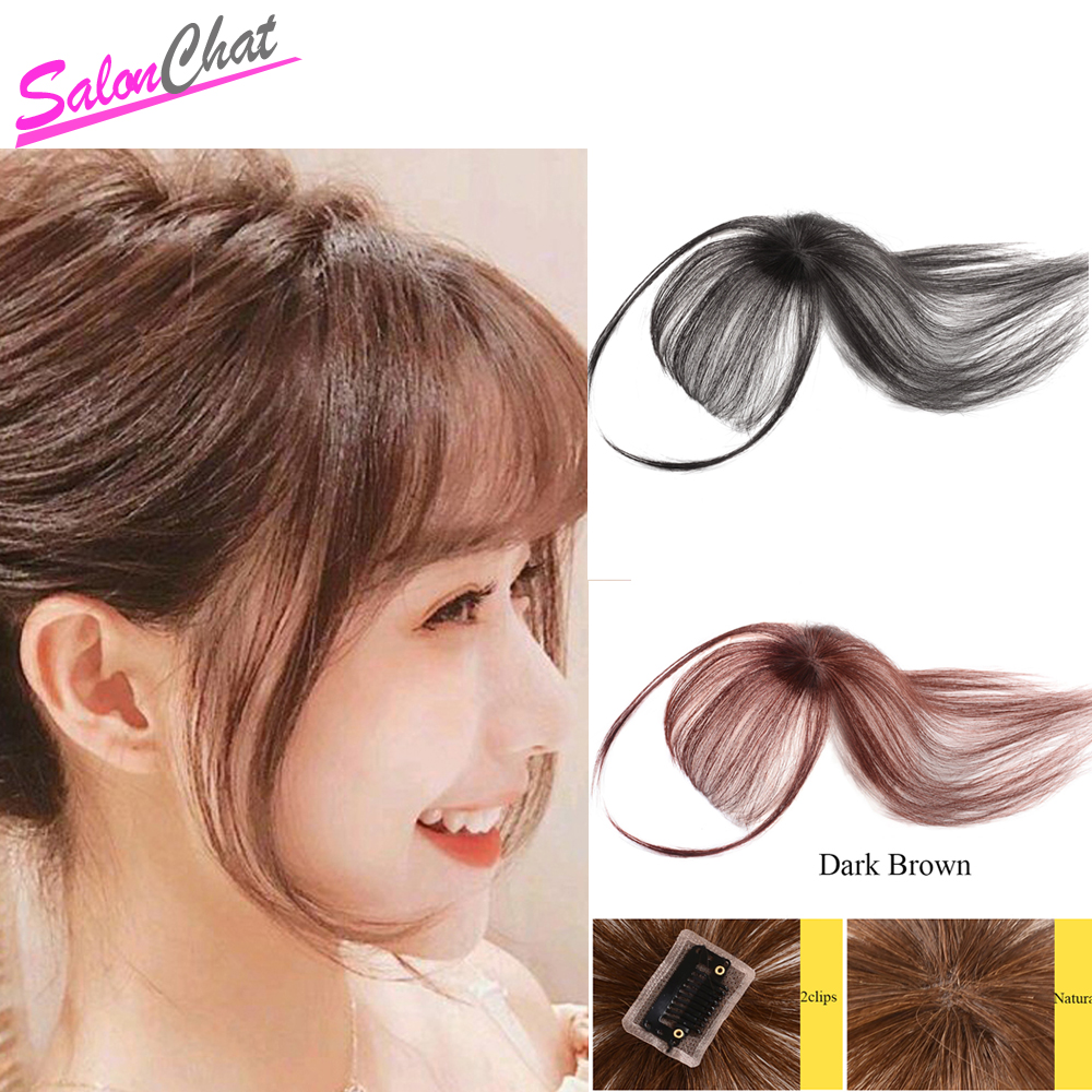 Salonchat Huamn Hair Bangs Black Brown 4 Colors Straight Neat Bangs Clip In Human Hair Extensions Remy Hair Topper Bangs Clips