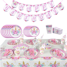 Unicorn Party Deco Supplies Disposable Plate Cup Tablecloth Tableware Set Childr
