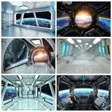 Laeacco compleanno fondali universo spazio capsula astronave astronauta Baby Shower fotografia sfondi per puntelli Studio fotografico