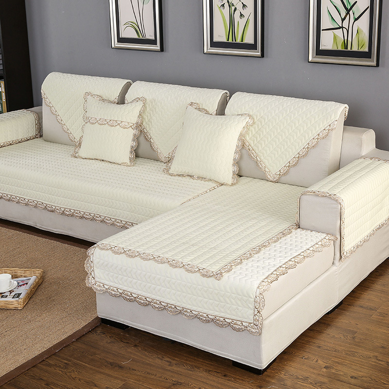 Thick Slip Resistant Couch Cover for Corner Sofa Made with Plush Fabric Including Lace for Living Room Decor 3