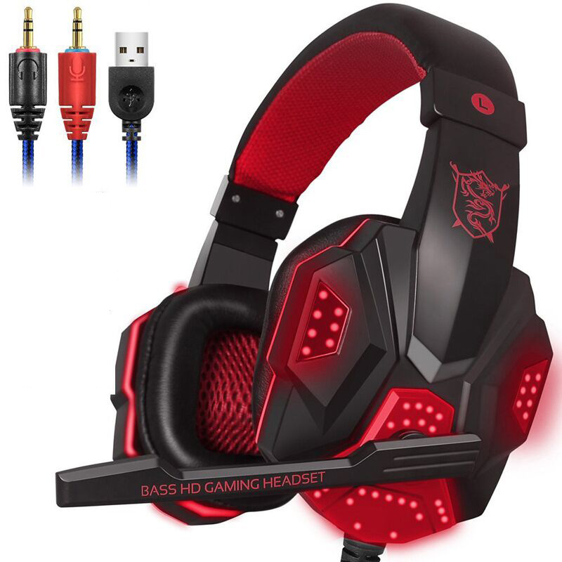 3,5mm Wired LED Licht Gaming Headset Für PS4 <font><b>PC</b></font> Xbox one Stereo Surround Sound Noise Cancelling Verdrahtet Sport Kopfhörer mit <font><b>Mic</b></font> image