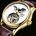 FUYIJIA 2019 nuevo Reloj Mecánico Tourbillon de lujo para hombres, reloj mecánico hueco, relojes de moda para hombres, reloj impermeable de cuero