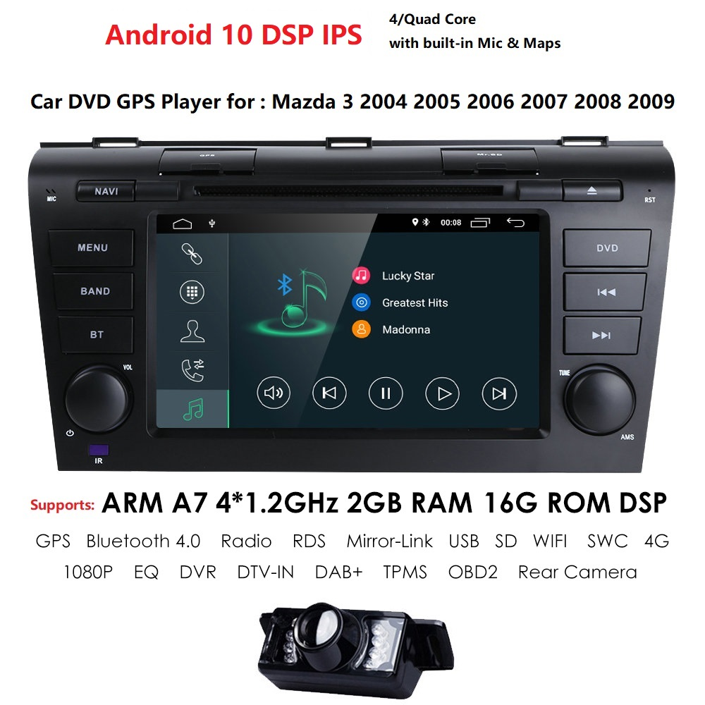 2GRAM 4G WIFI1024*600 Quad Core Android 10 Fit MAZDA 3 <font><b>MAZDA3</b></font> 2004 2005 2006 <font><b>2007</b></font> 2008 2009 Car DVD Player Navigation GPS Radio image