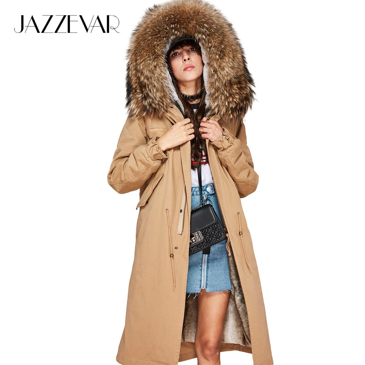 JAZZEVAR 2019 delle Nuove Donne di Modo X-Lungo parka grande reale racoon collo di pelliccia Con Cappuccio Del Cappotto Outwear naturale di colore Militare giacca invernale