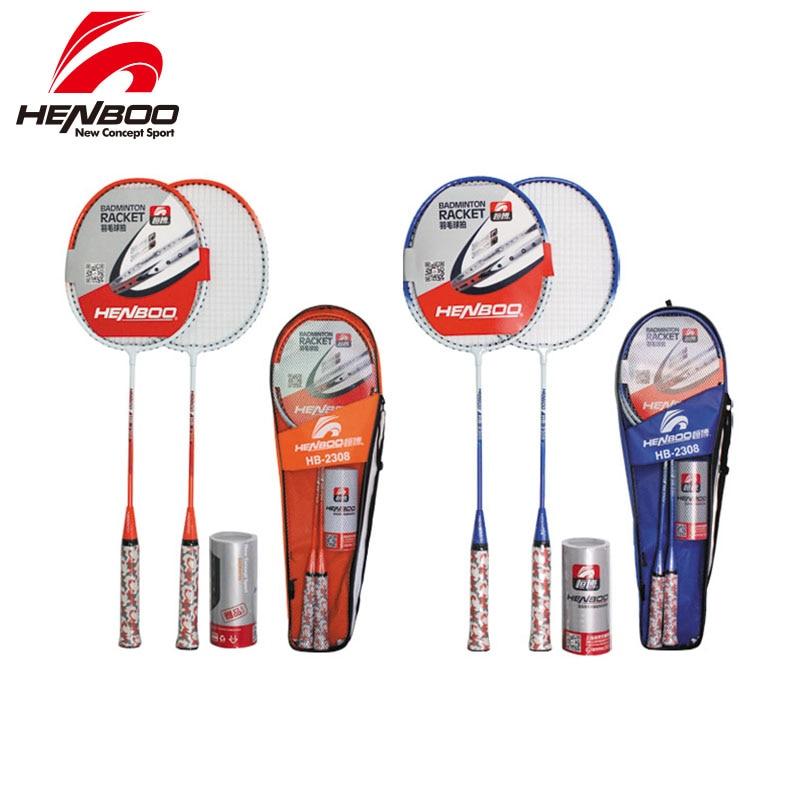 HENBOO Badminton Racket Set Family Double Professional Titanium Alloy Lightest Durable Standard 2308