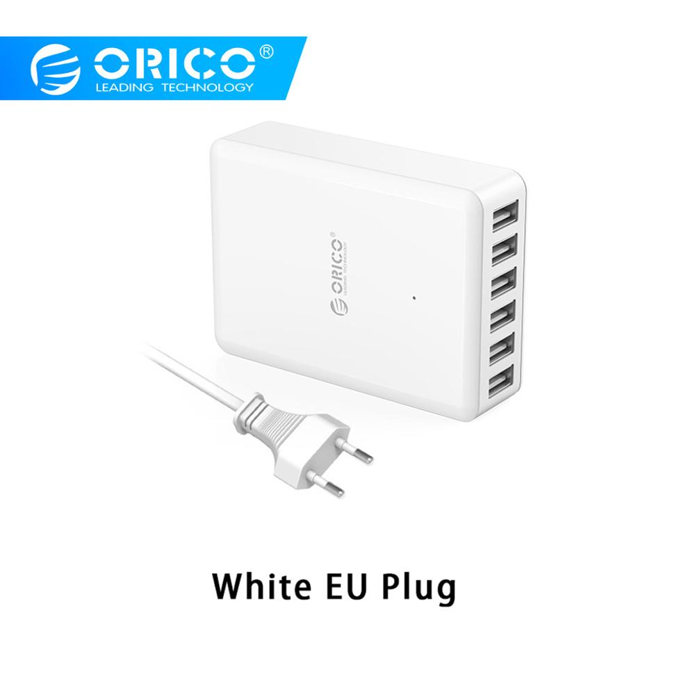 ORICO DCAP USB Charger 5V 2.4A 6 Ports 50W Universal Desktop Travel Charger for Samsung Galaxy S7/S6/Edge,LG,Xiaomi,iPhone