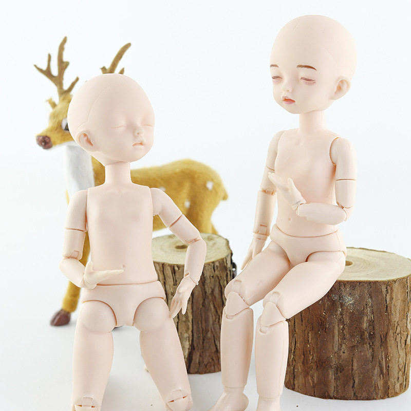 1/6 Bjd Doll Sleeping Eyes 28cm Naked Doll Head Body White Skin 22 Movable Joints DIY Handmade Makeup Dolls Toy For Childrens