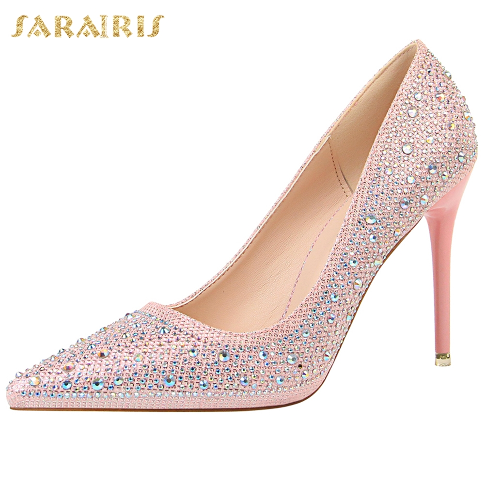 Sarairis On Sale Bigtree Crystals <font><b>Sexy</b></font> <font><b>Fetish</b></font> High Heels Pointed Toe Party Women Spring Summer <font><b>Shoes</b></font> Woman Pumps image