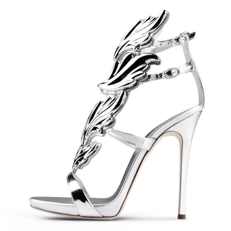 Pernikahan Sepatu Wanita Terbuka Toe SLIP ON Kulit Domba Kulit Asli Fashion Seksi Pompa 2020 Baru Perak Daun Sepatu Hak Tinggi plus Ukuran