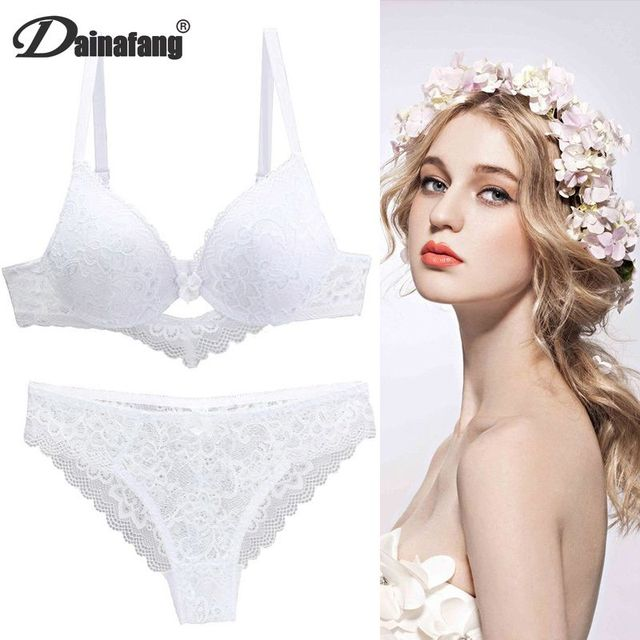 [Hot sales] New 2020 Lace Drill Bra Set Women Plus Size Push Up Underwear Set Bra And Thong Set 34 36 38 40 42BCD Cup For Female 5