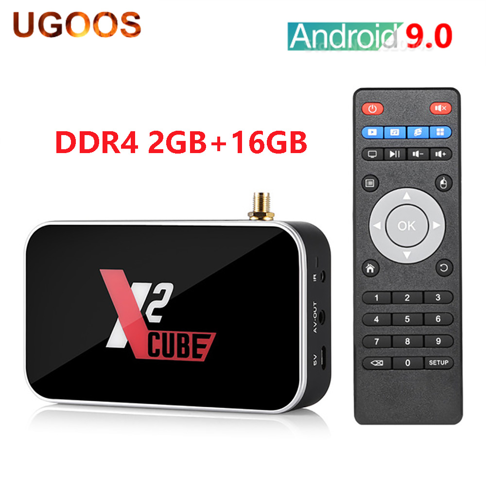 2020 heißer UGOOS X2 CUBE Smart TV Box Amlogic S905X2 Android 9,0 2GB DDR4 16GB 2,4G 5G WiFi 1000M Bluetooth 4K HD Media Player