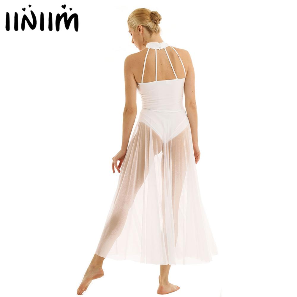 iiniim Womens Halter Neck Sheer Mesh Long Sleeves Ballet Lyrical Dance Leotard Dress