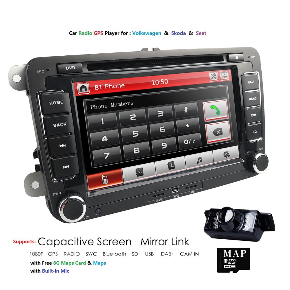 2 Din 7 inch Car DVD GPS Radio Player For Volkswagen golf 5 6 touran <font><b>passat</b></font> <font><b>B6</b></font> B7 sharan JATTA Skoda Seat Autoradio Free Camera image