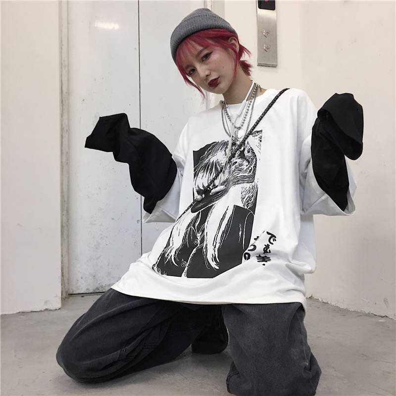 Nicemix Bông Tai Kẹp Áo Thun Nữ Giả 2 Cái In Nhật Bản Fujiang Kinh Dị Truyện Tranh Nữ Dài Tay Vetement Femme 2019