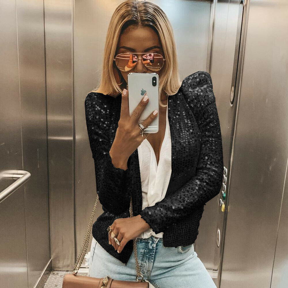 Fashion Women Sparkle Sequined Dance Evening Party Clubwear Long Sleeve Blazers Short Slim Coats Outwear