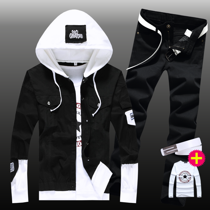 New Boys 2pcs Set With Belt Shirt Denim Jacket Pencil Pants Hooded Coat Patchwork Mens Straight Trousers Autumn Clothing E40