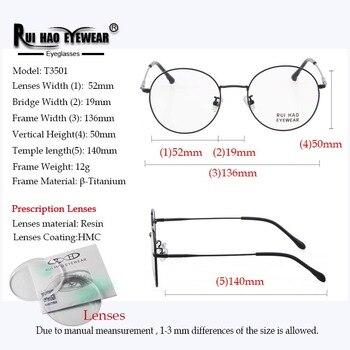 Frame and Lenses Prescription Eyeglasses Round Glasses Frame Fill Resin Lenses Customize Myopia Progressive Spectacles 6621