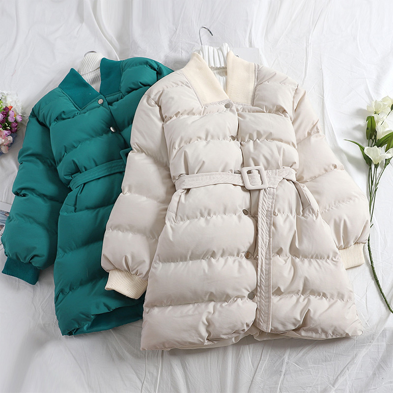 Winter Warm Short   Parkas   Women Casual Elegant Sashes Female Coat Jacket 2019 Autumn Thicken Cotton Padded Outwear   Parkas   Woman