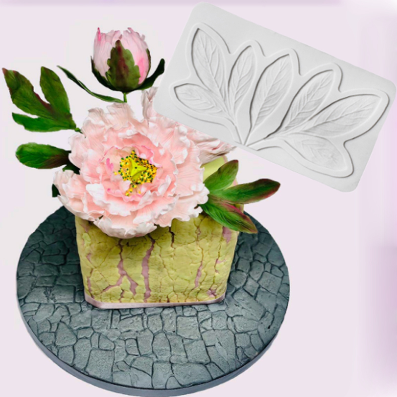 <font><b>Flower</b></font> Pro Peony Leaves Mould Fondant <font><b>Cakes</b></font> <font><b>Decor</b></font> <font><b>Tool</b></font> Silicone Molds Sugarcrafts Chocolate Baking <font><b>Tools</b></font> For <font><b>Cakes</b></font> Gumpaste Fimo image