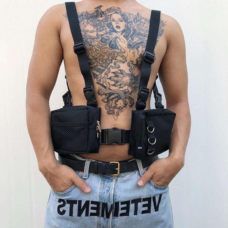 Unisex Punk Chest Rig Bag Tactical Streetwear Chest Bag Outdoor Functional Men Hip Hop Vest Bags Two Pockets Harness Waist Pack