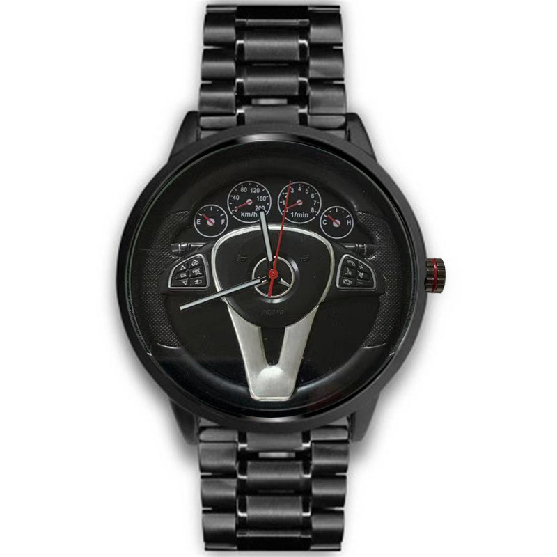 Casual Personality Classic Precision Men's Quartz Watch Racing Free Stainless Casual Sports 3D Car Steering Wheel Clock