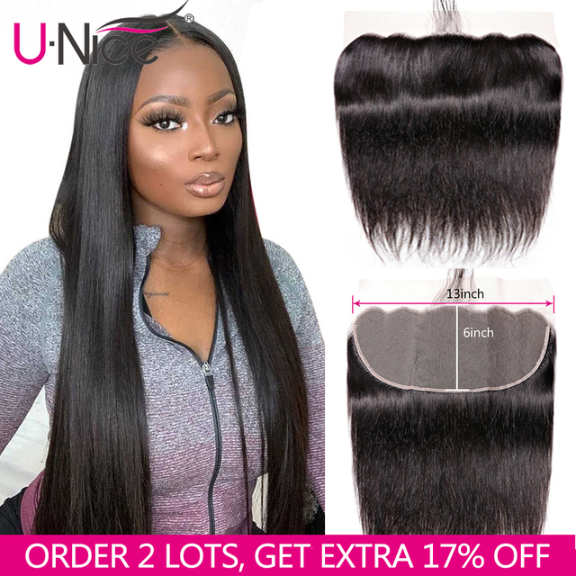 Unice Hair 13*6 Transparent Lace Frontal 8 18 Inch straight Human Hair Pre Plucked Brazilian Remy Hair Natural Color