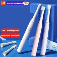 Xiaomi-cepillo de dientes eléctrico Mijia T100 para adultos, dispositivo de limpieza ultrasónico, automático, recargable vía USB, IPX7 resistente al agua, 100%