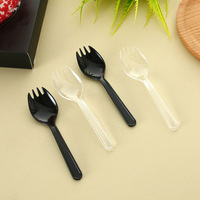 Wholesale in Bulk Disposable Plastic Transparent Cake Fork Fruit Fork Plastic Small Spoon Fork Spoon One piece Individual Packag