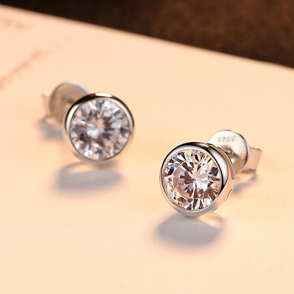 925 Sterling Silver Piercing Zircon Round Stud Earrings for Women Accessories Hypoallergenic pendientes eh1316