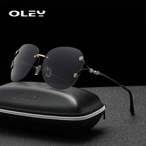 Женские солнцезащитные очки с бабочками OLEY, классические поляризационные очки в итальянском стиле с градиентной инкрустацией, большие очк...