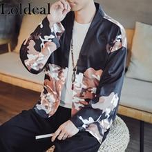 Loldeal Streetwear Japan Ukiyo E Crane Printed Kimono Harajuku Japanese Retro Style Casual