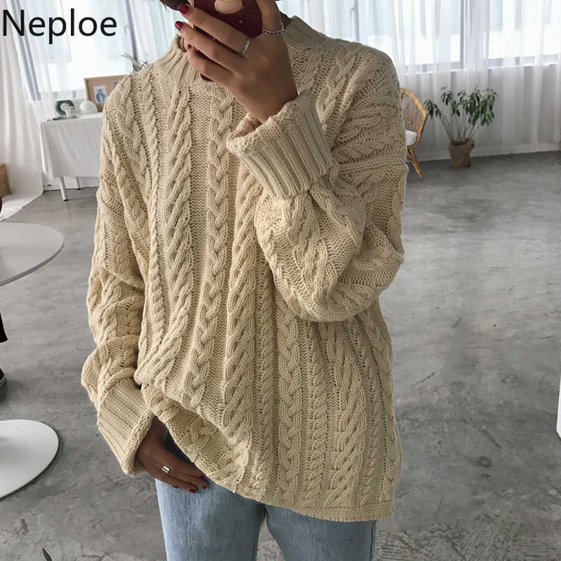 Neploe 2020 여성 캐주얼 스웨터 한국어 칙 니트 풀오버 긴 소매 트위스트 스웨터 하라주쿠 귀여운 탑 점퍼 당겨 54469