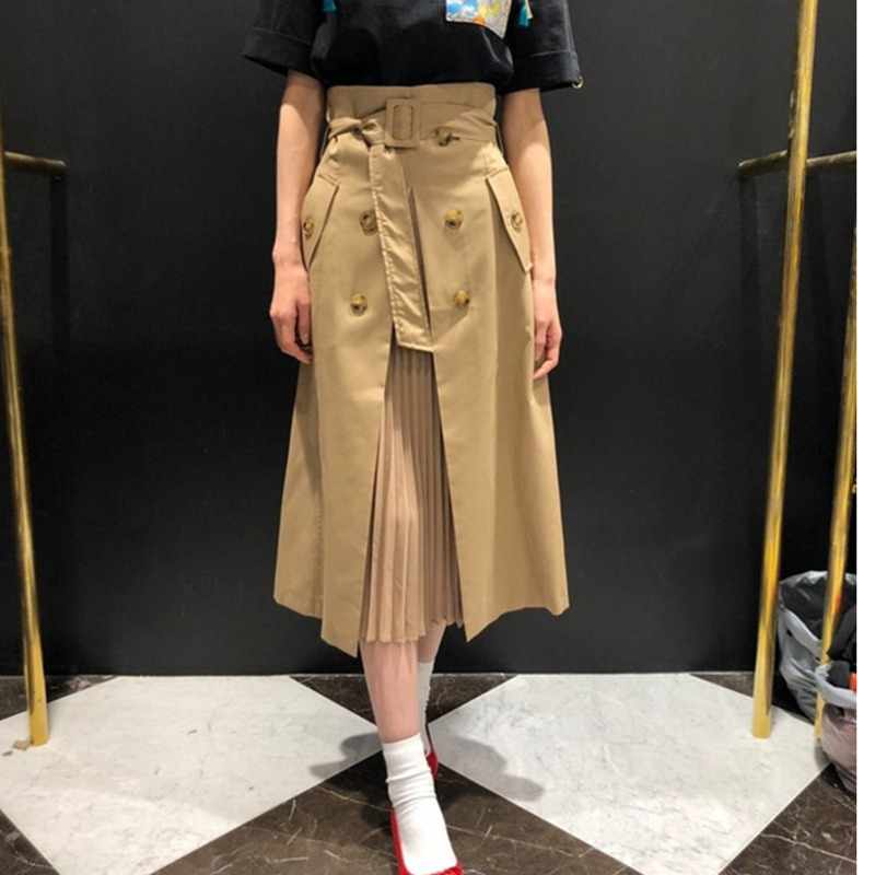 TVVOVVIN Women Skirt Cotton High Waist Irregular Skirts All Match Long Black Fashionable Ladies Summer Skirts 2020 Khaki B380