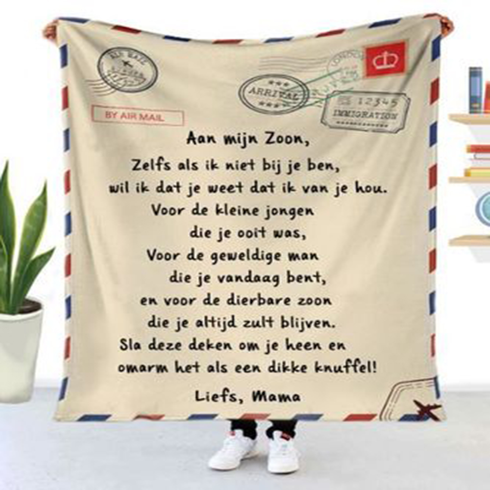 Flannel Blanket Air Mail 3D Printing Sofa Keeping Warm Children Blanket Home Textile Spanish and French Letter Printing Quilt-4