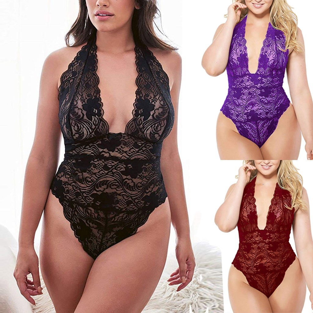 Porn Sexy Lingerie Women Plus Size Lace Teddy Sleepwear One Piece ...