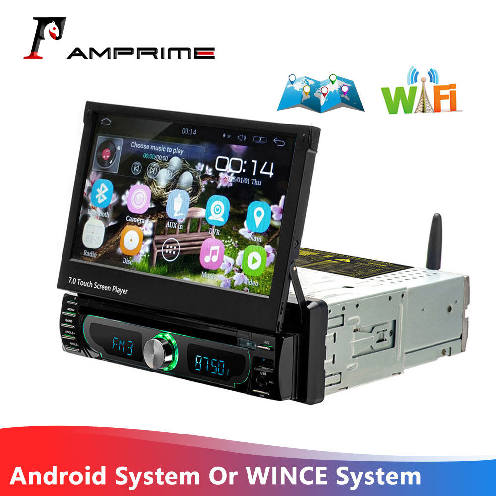 AMPrime Autoradio 1 Din Car Radio Android GPS  7 Inch HD Touch Screen Car Multimedia Player Mirror Link Support Rear View Camera