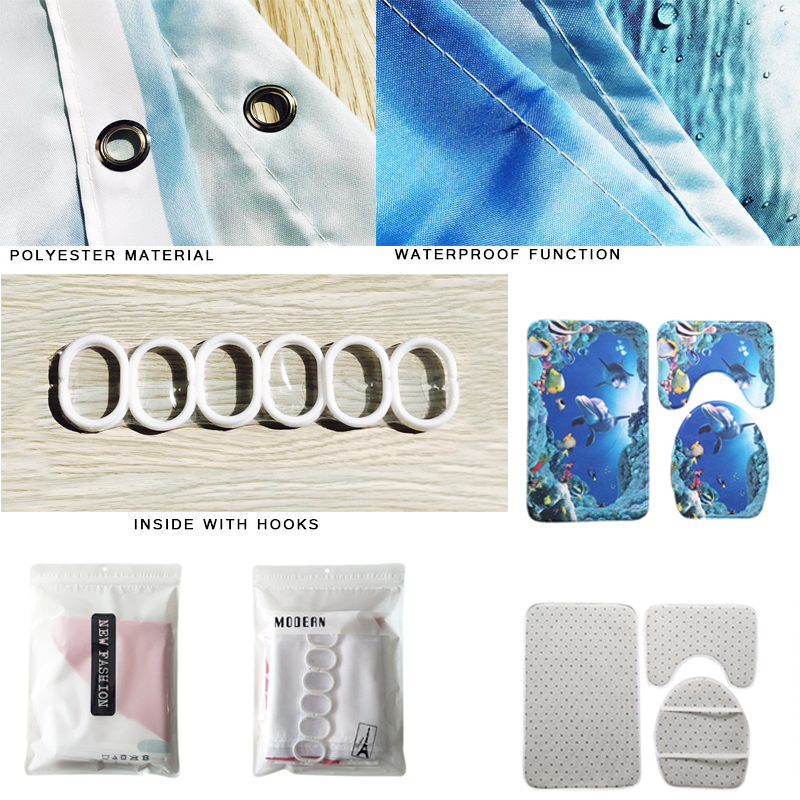 Butterfly Bathroom Curtain Set Made With PVC Material For Bathroom And Toilet Use 4