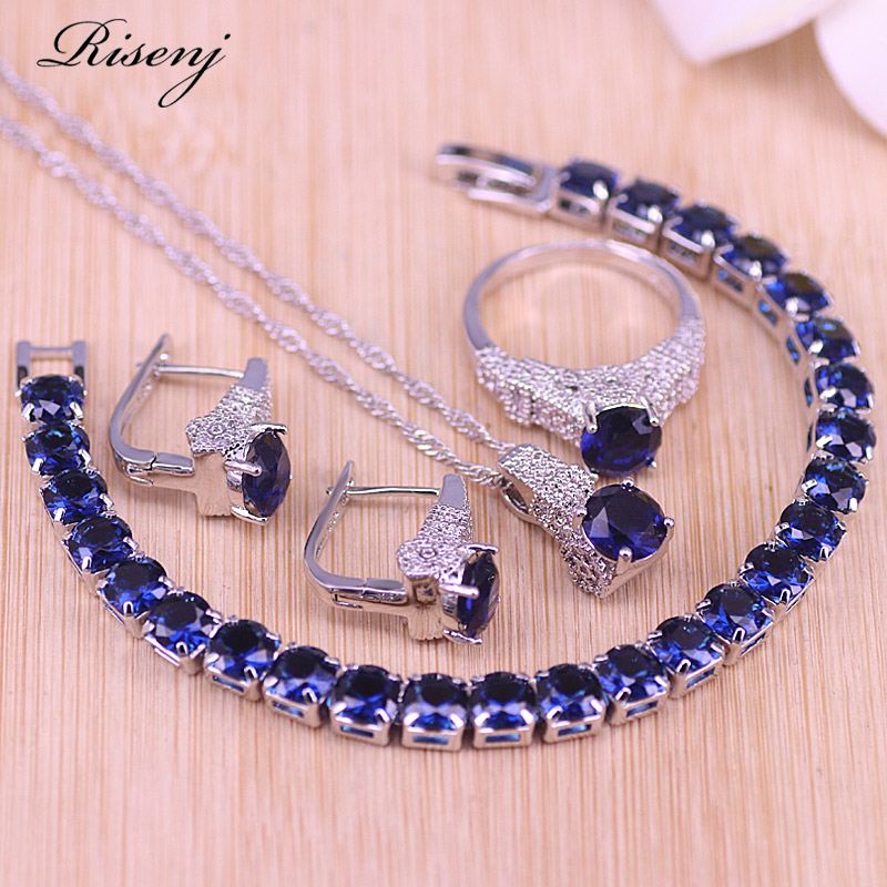 Risenj Promotion 5 Colors Bridal Jewelry Blue/Green/Red/White/Black Hoop Earrings Ring Necklace Set Factory Directly Sales
