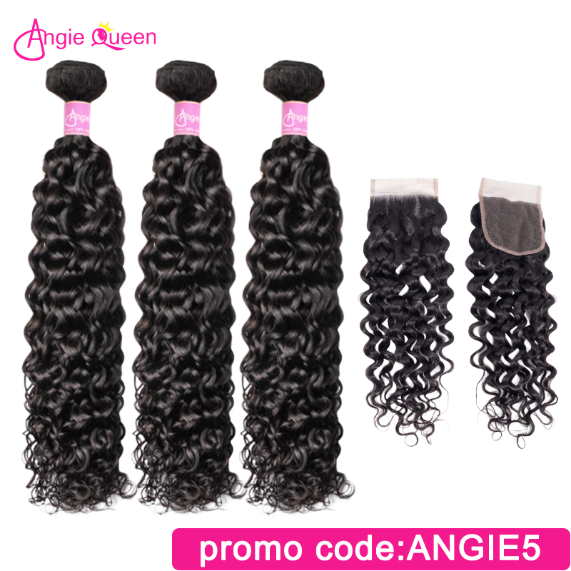 Angie Queen Water Wave Peruvian Remy Hair Natural Color Bundles With Closure Lace Closure With 100% Human Hair Bundles 3Pcs L
