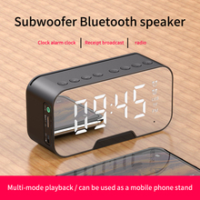 LED Display Mirror Alarm Clock Bluetooth Speaker FM Radio Wireless Speakers with Phone Holder TF Card  Music Player boombox