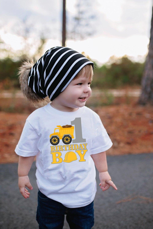 It's My First Birthday T-Shirt Kids Truck T Shirt Boys Construction Birthday Tee Toddler Boy First Birthday Shirt